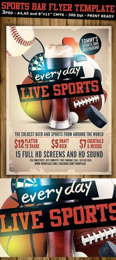 Sports Bar Flyer Template PSD v2  • Only available here ➝ http://graphicriver.net/item/sports-bar-flyer-template-v2/10595473?ref=pxcr