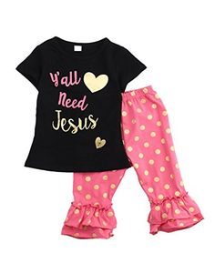 Little Girl Jesus Printed Clothes Set Short Sleeve T Shirt Dot BellBottom Pants 56YTag 120 *** For more information, visit image link.Note:It is affiliate link to Amazon.