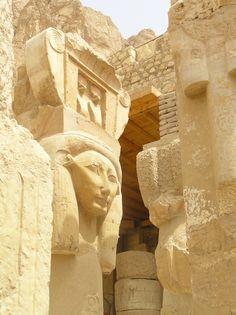 Hathor column. The Temple of Deir el-Bahri - Hatshepsut's Temple in Egypt