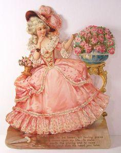 TUCK - FRANCES BRUNDAGE VALENTINE - Die Cut - Pretty Lady in Pink - 1900/10