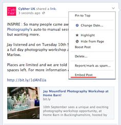 How to use Facebook Embedded Posts Step 1