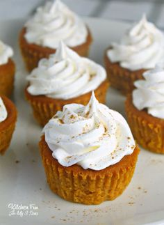 Pumpkin Pie Cupcakes are tiny pumpkin pies you can eat with your hands. So yummy for fall and Thanksgiving! Pumpkin Pie Cupcakes are tiny pumpkin pies you can eat with your hands. So yummy for fall and Thanksgiving! Thanksgiving Desserts Easy, Fall Dessert Recipes, Fall Desserts, Delicious Desserts, Cupcake Recipes, Wedding Desserts, Christmas Desserts, Christmas Recipes, Christmas Holidays