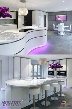 Astounding Interiors were assigned by a private client to design and build them a unique, contemporary and handleless kitchen. Our Innovative design, defined by asymmetrically curved base units, echoe Luxury Kitchen Design, Kitchen Room Design, Luxury Kitchens, Home Decor Kitchen, Modern House Design, Interior Design Kitchen, Modern Interior Design, Design Interiors, Luxury Furniture
