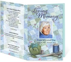 Hobby Themed Funeral Order of Service Programs: Quilter Preprinted Title Letter Single Fold Template editable in Word, Publisher, OpenOffice, Apple iWork Pages