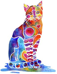 cat --- watercolor cat art, jo lynch, anim, art paintings, cross stitch, cat watercolor, calico cats, whimsical art, rainbow