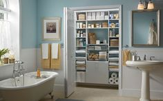 Who has a closet this big for the bathroom?  One can dream...