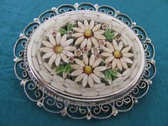 Vintage Micro Mosaic Unusual White Daisies Made in Italy