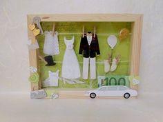 Geldgeschenk und Wandbild zur Hochzeit in einem. Holzkästchen mit Glasscheibe. Lieferung erfolgt natürlich ohne Geldschein!