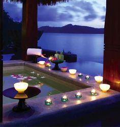 Nothing like a Candle Light Hot Tub with a view and Rose Petals.