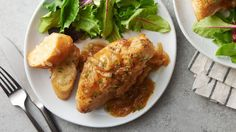 Caramelized sweet onions slow cook with bone-in chicken breasts to make a delicious French onion-style dish. Serve with slices of toasted garlic cheesy bread so you can soak up the flavorful sauce. Add a side of Betty Crocker™ mashed potatoes for a complete dinner.