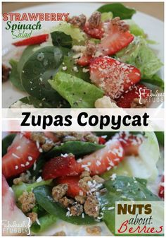 Nuts about Berries is my version of a Cafe Zupas copycat recipe. I love this spinach, strawberry and toasted nuts combination. Plus check out the homemade poppy seed dressing.