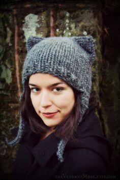9e7fcfbf74d Kitty Ear Earflap Hat- Charcoal Gray Heathered Chunky Knitted WOOL Blend  Hand Knit Crochet Hair