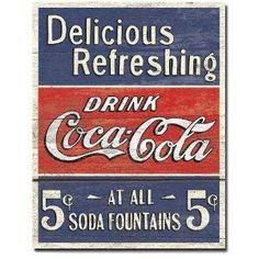 NEW Retro COKE - Delicious 5 Cents Metal Tin Sign , 12x16