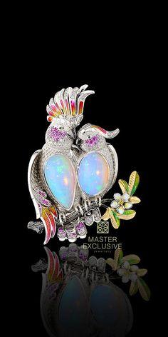 Birds of Paradise Collection. gold, opal, diamonds, black diamonds, yellow diamonds, pink sapphires, enamel