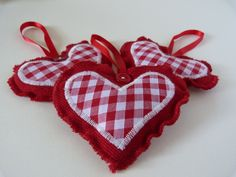 Red Wool and Gingham Stitched Button Heart  Christmas Decoration. $6.50, via Etsy.