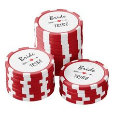 Bride Tribe Red Heart Arrow Red & White Striped Poker Chips - bridal shower gifts ideas wedding bride