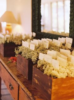For Teresa - sub for birch boxes and add vine like greens / chamomile?? escort cards with baby's breath