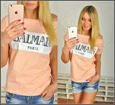 Одежда Женская футболка хулиганка с надписью  BALMAIN персиковая