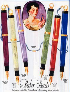 Parker Pastel fountain pens advertisement. 1927.
