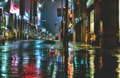 Rainy Night on Yonge Street by Mr. Nocturne, Street Photography, Landscape Photography, Rain Photography, Photography Ideas, Rainy City, Yonge Street, Rainy Night, Rainy Days