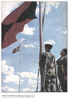 The SS Cossack flies alongside the Nazi flag