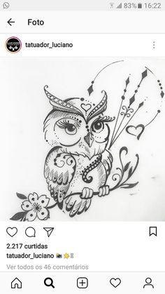 For my Owl lover! Love Tattoos, Body Art Tattoos, Small Tattoos, Tatoos, Owl Tattoo Design, Angel Tattoo Designs, Owl Tattoo Drawings, Tattoo Sketches, Tattoos Familie