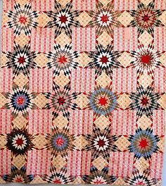 Beautiful Antique Handmade LAE 1800s Prarie Star Bouquet Quilt Pink Brown Blue | eBay