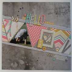 Like the idea of using triangles with photos and different patterns of paper Kids Scrapbook, Scrapbook Paper Crafts, Scrapbook Cards, Scrapbook Sketches, Scrapbook Page Layouts, Picture Layouts, Album Photo, Making Ideas, Cardmaking