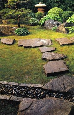 Japanese, Path, Lantern, Stones  Asian Landscaping  Zoen Sekkei-sha + Associates  Lake Forest, IL