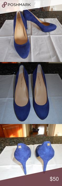 """Ivanka Trump Kimo Blue Suede Platform Pumps 7 1/2 New In Box - Originally $130.00.  Ivanka Trump """"Kimo"""" Blue Suede Pumps.  Size 7 1/2.  These shoes have a 3.8 covered heel with a 0.8 inch platform.  Equivalent to a 3 inch heel. Padded footbed with smooth outsole.  Almond toe, slip on style.  Leather lining with a man made sole. Ivanka Trump Shoes Heels"""