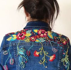 Cross Stitch And Embroidery 2 / Ristipistot Ja Muu Kirjonta 2 Embroidery Fashion, Embroidery Applique, Embroidery Designs, Embroidery On Denim, Embroidered Clothes, Embroidered Jacket, Denim Ideas, Diy Clothes, Sewing Patterns