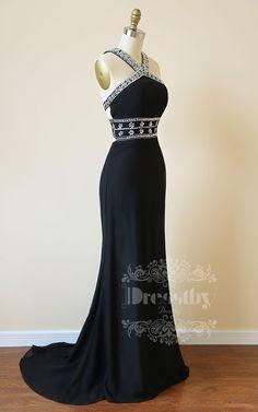 Unique black backless sequin long prom dress, black evening dress for teens