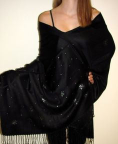 a black evening shawl with unique hand crafted made in 1-2 days ships from CT just for you - hurry shop the beautiful handcrafted pashmina shawls in unique designs can customize too. http://www.yourselegantly.com/pashmina-shawls/handcrafted-shawls.html