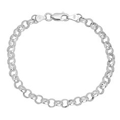 """Solid 925 Sterling Silver 6mm Rolo Cable Link Italian Crafted Chain, 8"""". This solid sterling silver belcher style 6mm rolo bracelet is made in Italy extending to a length of 8 inches and finished in a sturdy lobster claw clasp. Its uniform low dome round links are interlocked in an alternating symmetrical pattern creating a uniform and durable design. Stamped with the hallmark of .925 pure sterling silver, this nickel-free bracelet is hypoallergenic with a non-plated finish polished into…"""