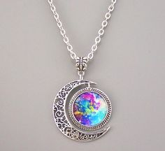 Nebula Necklace Bronze/Silver Moon Charm Jewelry Nebula Pendant Galaxy Resin Pendant Hubble Space on Luulla