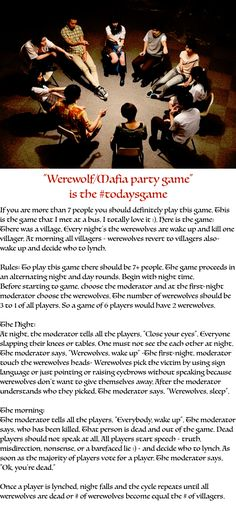 """""""Werewolf/Mafia party game"""" is the If you are more than 7 people you should definitely play this game. This is the game that I. Scary Sleepover Games, Scary Games To Play, Games For Kids, Activities For Kids, Mafia Party Game, Mafia Game, Indoor Party Games, Fun Party Games, Drama Activities"""