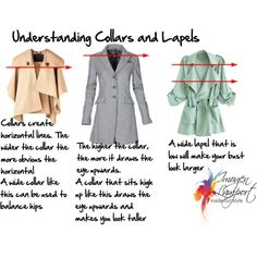 "Choose high collar (middle) for large bust to draw eye up - ""Understanding collars and lapels"" by imogenl on Polyvore"