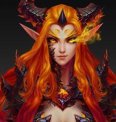 ArtStation - Favorite world of Warcraft ——, Fei Liu Fantasy Girl, Chica Fantasy, Fantasy Warrior, Fantasy Women, Dark Fantasy Art, Fantasy Artwork, Final Fantasy, World Of Warcraft, Warcraft Art