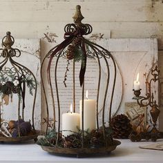 bird cage decor Candles in bird cages. I have a similar cage that I use as a bird feeder. Decoration Christmas, Fall Decor, Holiday Decor, Winter Holiday, Country Decor, Farmhouse Decor, Country Living, Country Crafts, Christmas Time