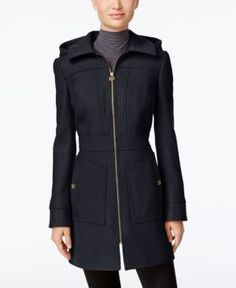 Michael Michael Kors Hooded Wool-Blend Coat, Only at Macy's - Blue S