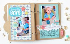 Mini album made with the #epiphanycrafts Shape Studio Tool Round 25 available at #MichaelsStores www.epiphanycrafts.com #scrapbook #minialbum #punkysprouts