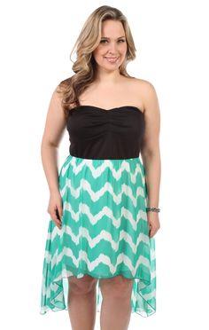 Deb Shops #mint plus size strapless day dress with #chevron chiffon high low #skirt