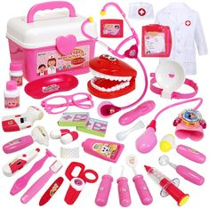 Buyger 35 Pcs Doctors Kit for Children Medical Play Set Kids Dress Up Costumes in Carry case with Electronic Stethoscope Kids Toys For Boys, Diy For Kids, Gifts For Kids, Baby Alive Doll Clothes, Baby Alive Dolls, Little Girl Toys, Baby Girl Toys, Hello Kitty Haus, Phone Watch For Kids