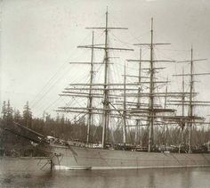Four-masted British bark DRUMMUIR anchored at Port Blakely, Washington, between 1892 and 1906 Old Sailing Ships, Vintage Boats, Bainbridge Island, Old Port, San Juan Islands, Set Sail, Big Sky, Wooden Boats, Tall Ships