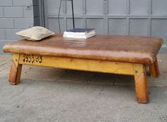 Leather bench.