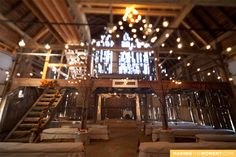 "I love the ""upper deck"" vibe of this barn. A place for the wedding when Winter rolls around, (or you just don't do bugs in the Spring, Summer, and Autumn seasons.) and the bottom half, use for reception time! Love!"
