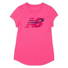 Girls 4-6x New Balance Dolphin Hem Graphic Tee, Size: 6, Brt Pink