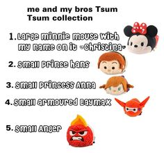 """""""me and my bros tsum tsum collection"""" by christina-cookie ❤ liked on Polyvore"""