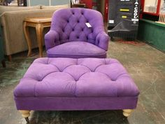 """I don't know where, or in what room of which imagined home- but a purple chair with ottoman says """" sit here, drink coffee, and read""""!!!"""