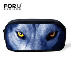 Women Make Up Bag Cool Animal Wolf Print Cosmetic Cases Student Boys Girls Pencil Bag Zipper Pen Box Stationery Makeup Holder